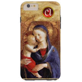 VIRGIN WITH CHILD  Red Ruby Monogram Tough iPhone 6 Plus Case