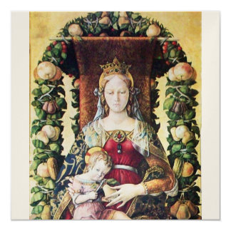 VIRGIN WITH CHILD White Champagne metallic paper Card