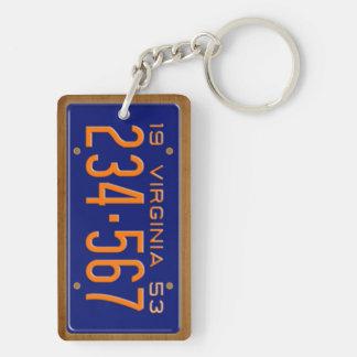 Virginia 1953 Vintage License Plate Keychain Rectangular Acrylic Keychains