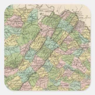 Virginia 3 calcomanias cuadradas