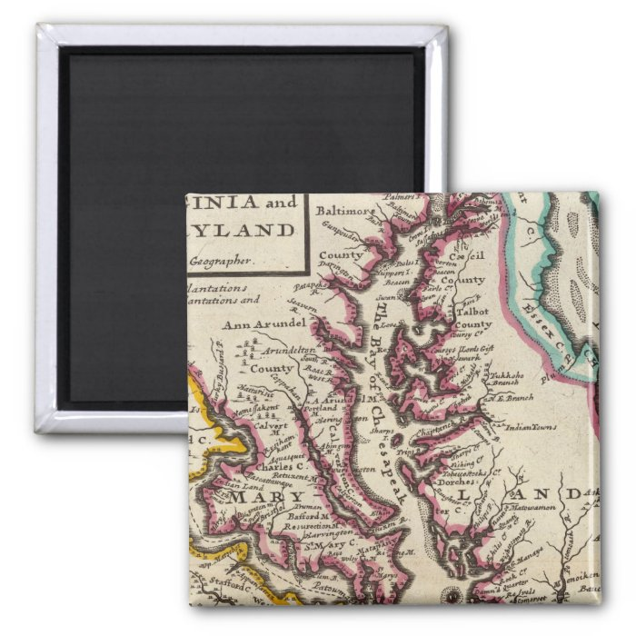 Virginia and Maryland 2 Inch Square Magnet