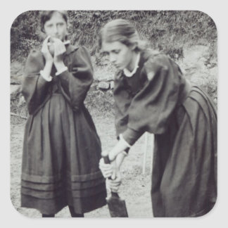 Virginia and Vanessa Stephen, in St. Ives, 1894 Square Sticker