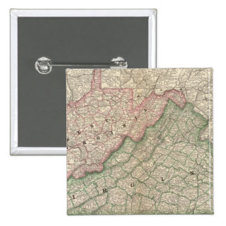Virginia and West Virginia 2 2 Inch Square Button
