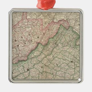 Virginia and West Virginia 2 Christmas Ornaments