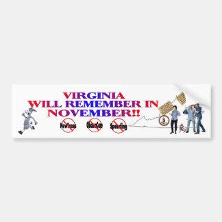 Virginia - Anti ObamaCare, New Taxes & Spending Bumper Sticker