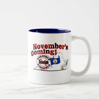 Virginia Anti ObamaCare – November's Coming! Two-Tone Coffee Mug