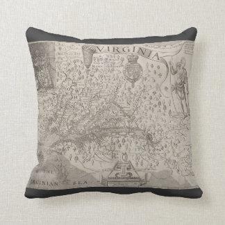 Virginia Antique Map by Capt. John Smith 1612 Throw Pillow