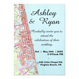 Virginia Beach Map Wedding Invitation