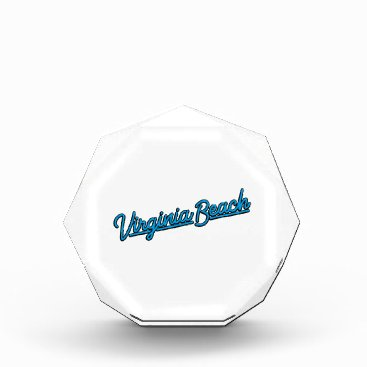 Beach Themed Virginia Beach neon sign in cyan Acrylic Award