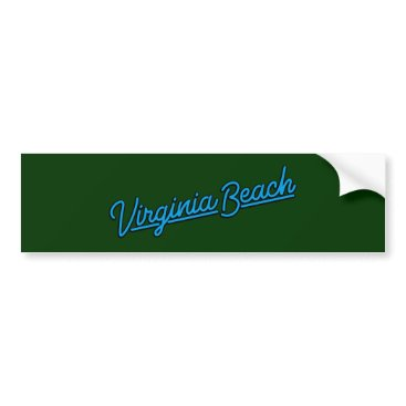 Beach Themed Virginia Beach neon sign in cyan Bumper Sticker