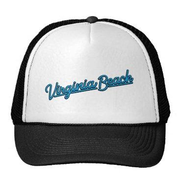 Beach Themed Virginia Beach neon sign in cyan Trucker Hat