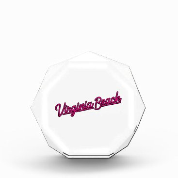 Beach Themed Virginia Beach neon sign in magenta Acrylic Award
