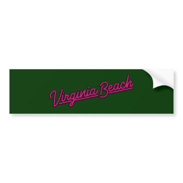 Beach Themed Virginia Beach neon sign in magenta Bumper Sticker
