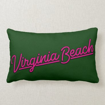 Beach Themed Virginia Beach neon sign in magenta Lumbar Pillow
