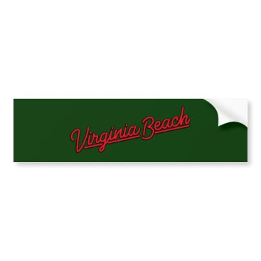 Beach Themed Virginia Beach neon sign in red Bumper Sticker