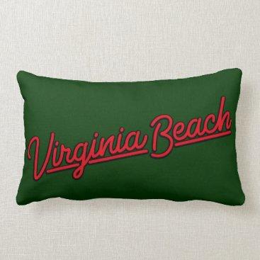 Beach Themed Virginia Beach neon sign in red Lumbar Pillow