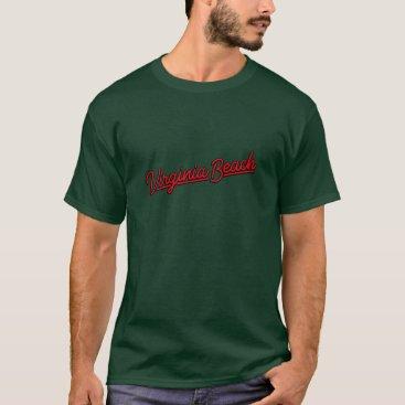 Beach Themed Virginia Beach neon sign in red T-Shirt