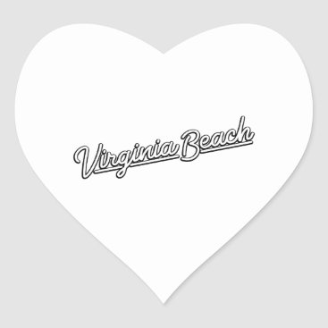 Beach Themed Virginia Beach neon sign in white Heart Sticker