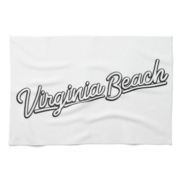 Beach Themed Virginia Beach neon sign in white Kitchen Towel
