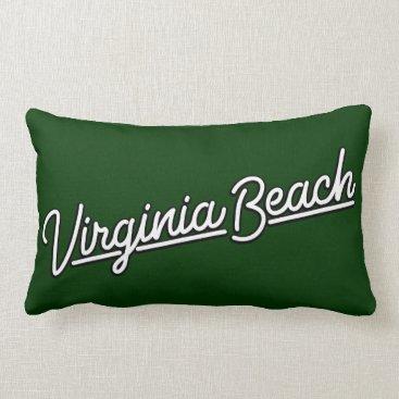 Beach Themed Virginia Beach neon sign in white Lumbar Pillow