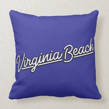 Beach Themed Virginia Beach neon sign in white Throw Pillow