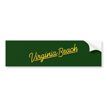 Beach Themed Virginia Beach neon sign in yellow Bumper Sticker