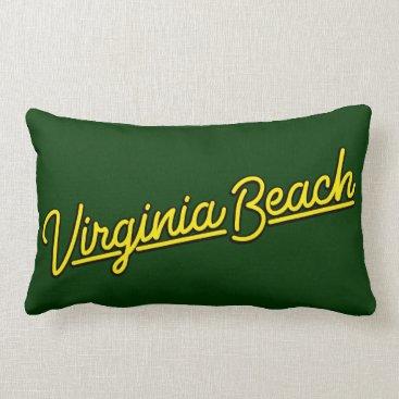 Beach Themed Virginia Beach neon sign in yellow Lumbar Pillow