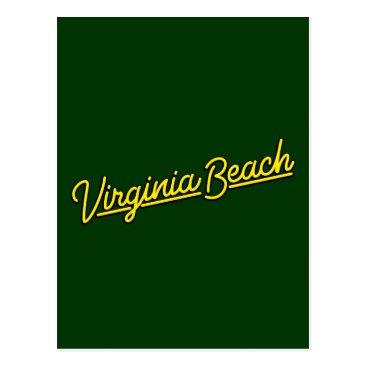 Beach Themed Virginia Beach neon sign in yellow Postcard