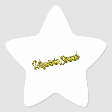 Beach Themed Virginia Beach neon sign in yellow Star Sticker