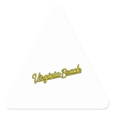 Beach Themed Virginia Beach neon sign in yellow Triangle Sticker