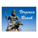 Virginia Beach Poseidon Statue w White Text Greeting Card