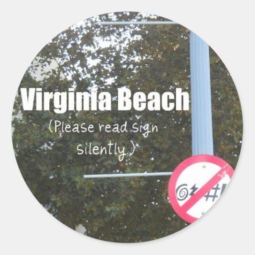Virginia Beach Profanity Signs Round Sticker