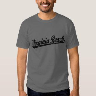 Virginia Beach script logo in black distressed Tee Shirt