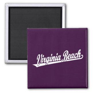 Virginia Beach script logo in white 2 Inch Square Magnet