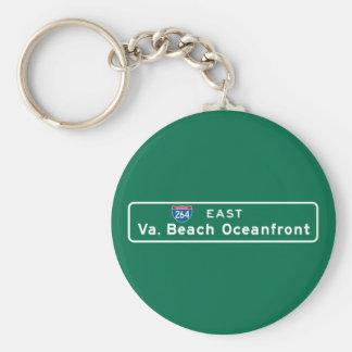 Virginia Beach, señal de tráfico del VA Llavero Redondo Tipo Pin