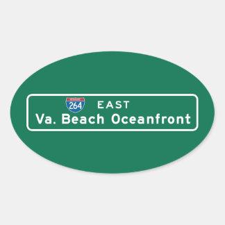 Virginia Beach, VA Road Sign Oval Sticker