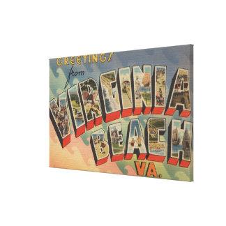 Virginia Beach, Virginia - Large Letter Scenes Canvas Print