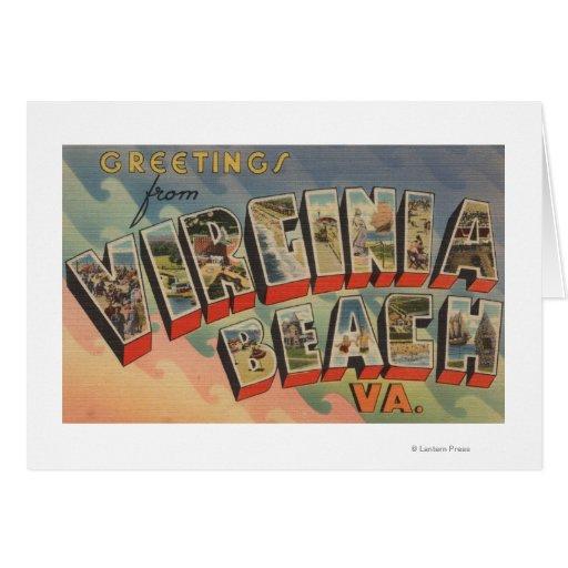 Virginia Beach, Virginia - Large Letter Scenes Card