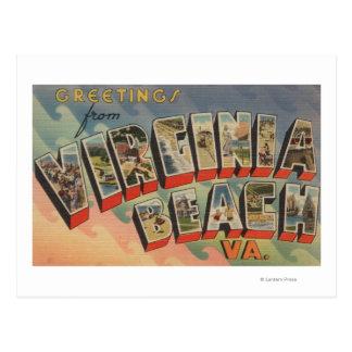 Virginia Beach, Virginia - Large Letter Scenes Postcard