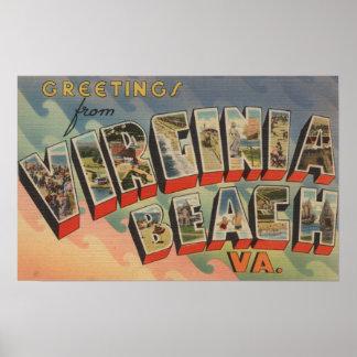 Virginia Beach, Virginia - Large Letter Scenes Poster