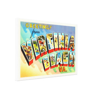 Virginia Beach Virginia VA Vintage Travel Postcard Canvas Print