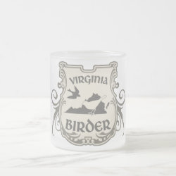 Frosted Glass Mug with Virginia Birder design
