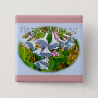 Virginia Bluebells Happy Birthday Coordinated Item Pinback Button