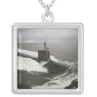 Virginia-class attack submarine square pendant necklace