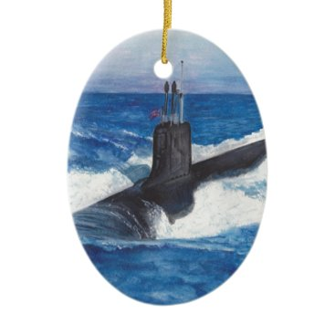 Virginia Class Warriors Submarine Ceramic Ornament