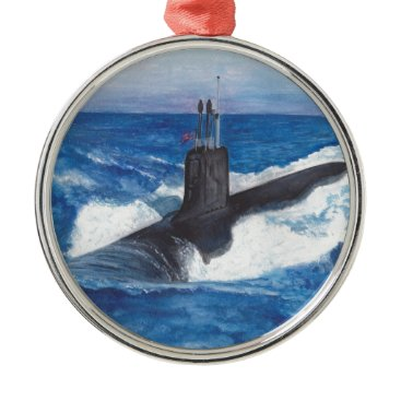 Virginia Class Warriors Submarine Metal Ornament