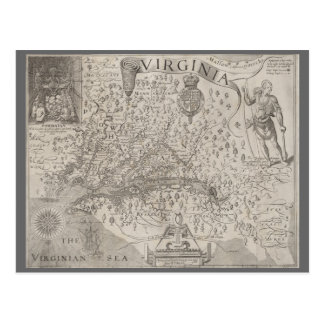 Virginia Colony Antique Map by Capt. John Smith Postcard