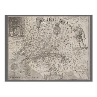 Virginia Colony Antique Map by Capt. John Smith Postcard