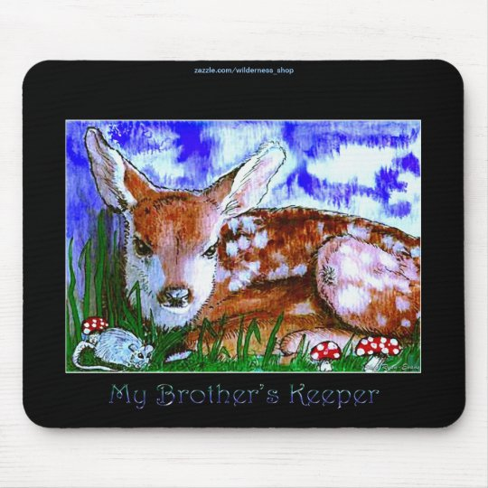Virginia Deer Fawn & Mouse Baby Animal Art Mouse Pad