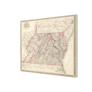 Virginia, Delaware, Maryland, and West Virginia Stretched Canvas Prints